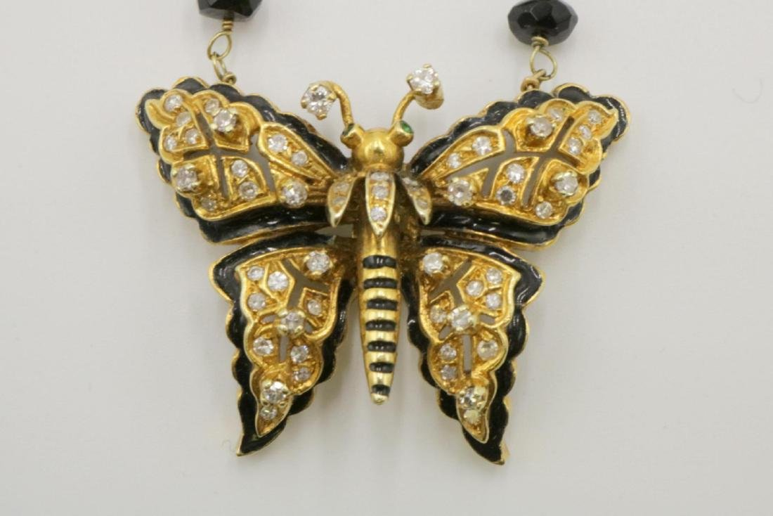 14Kt Diamond, Black Onyx, Akoya Pearls Butterfly - 2