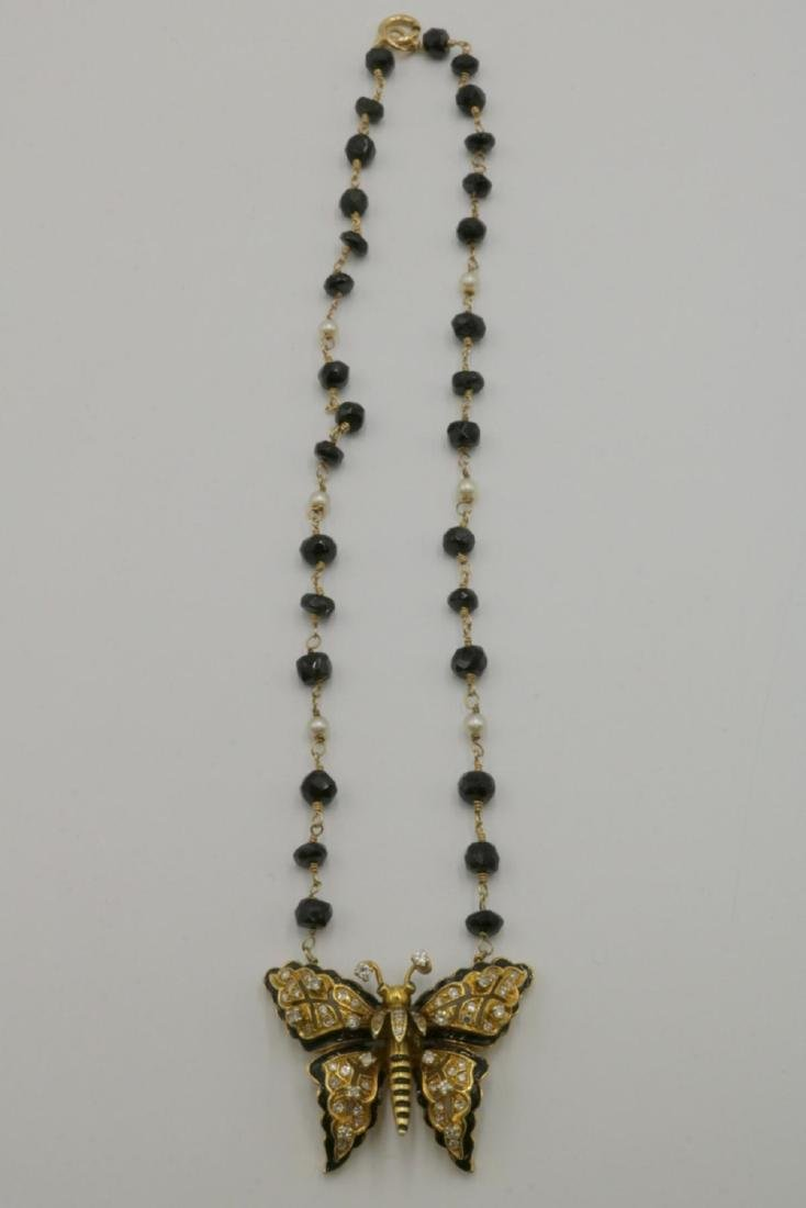 14Kt Diamond, Black Onyx, Akoya Pearls Butterfly - 4