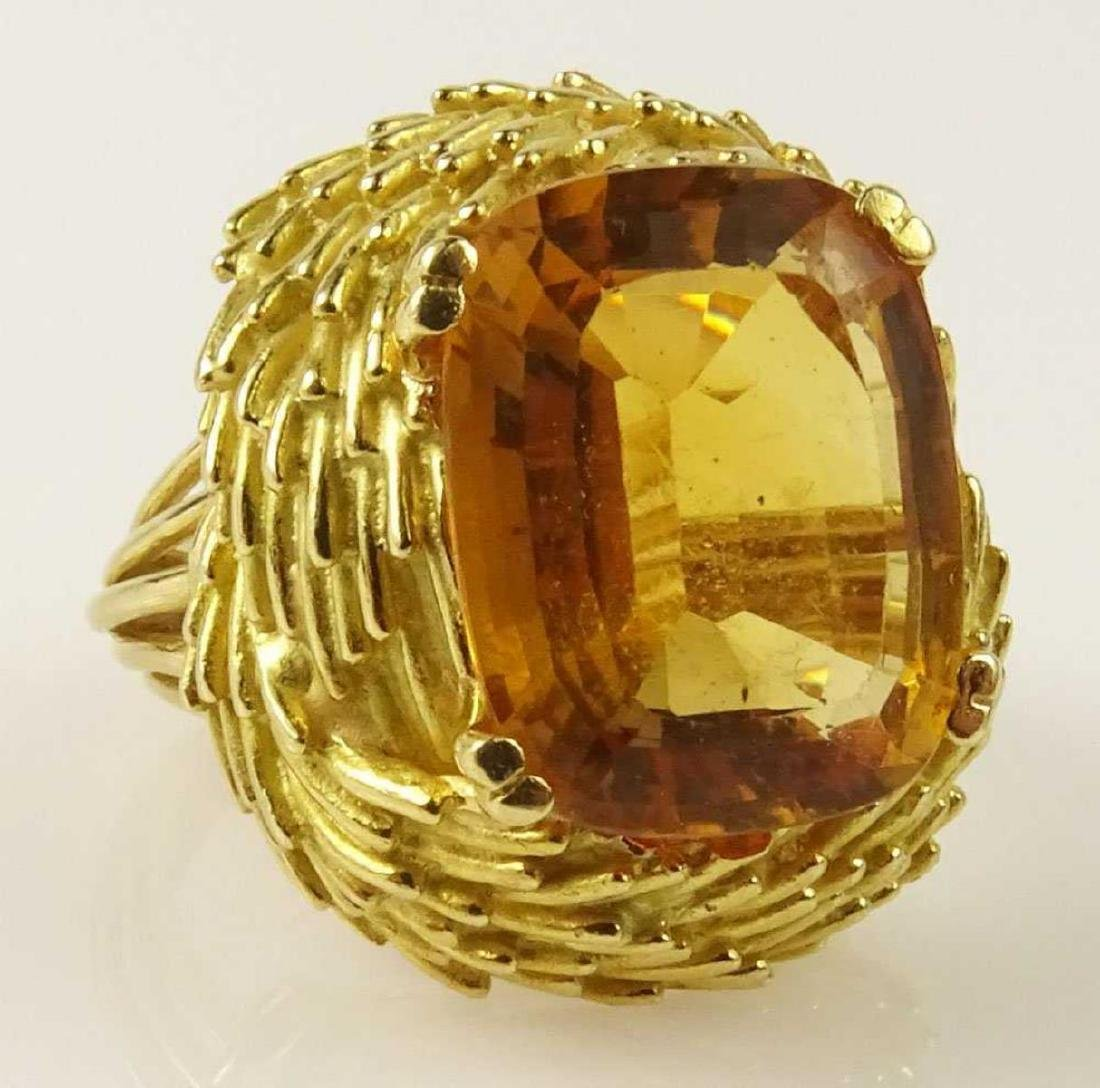 Vintage 18Kt & Golden Citrine Ring