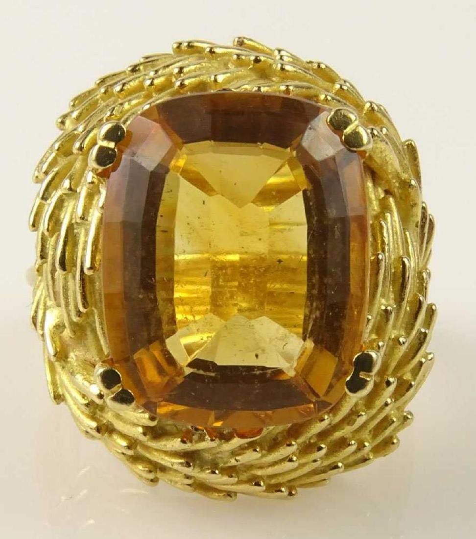Vintage 18Kt & Golden Citrine Ring - 2