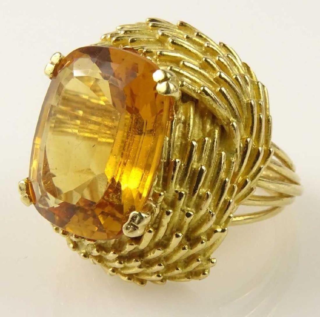 Vintage 18Kt & Golden Citrine Ring - 3
