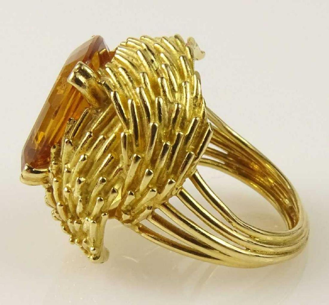 Vintage 18Kt & Golden Citrine Ring - 4