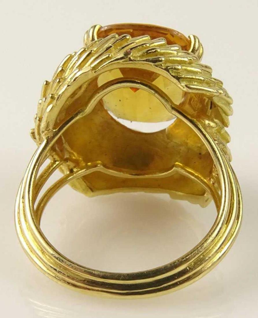 Vintage 18Kt & Golden Citrine Ring - 5