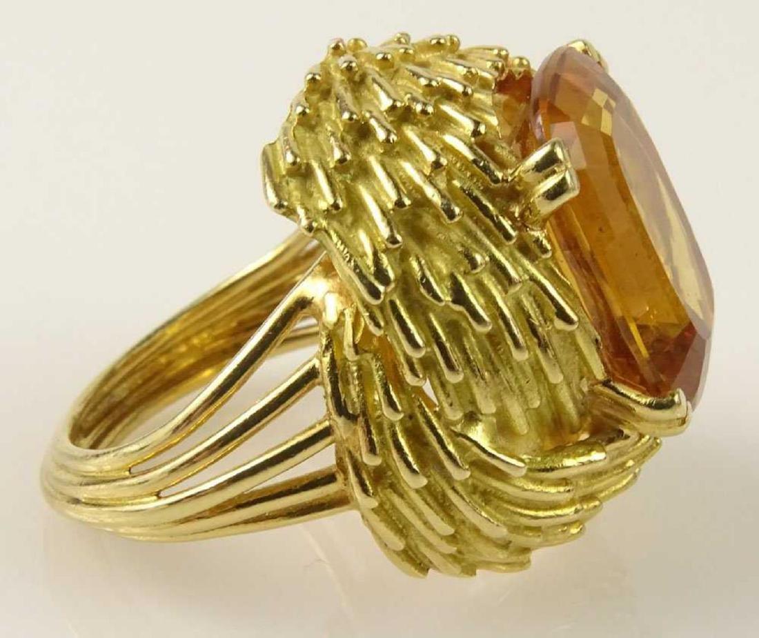 Vintage 18Kt & Golden Citrine Ring - 6