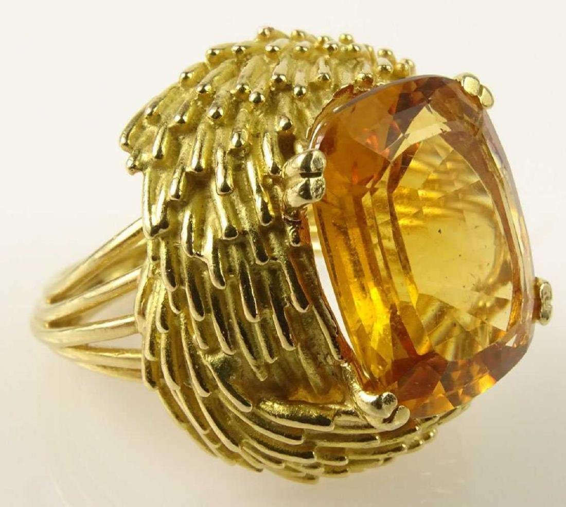 Vintage 18Kt & Golden Citrine Ring - 7