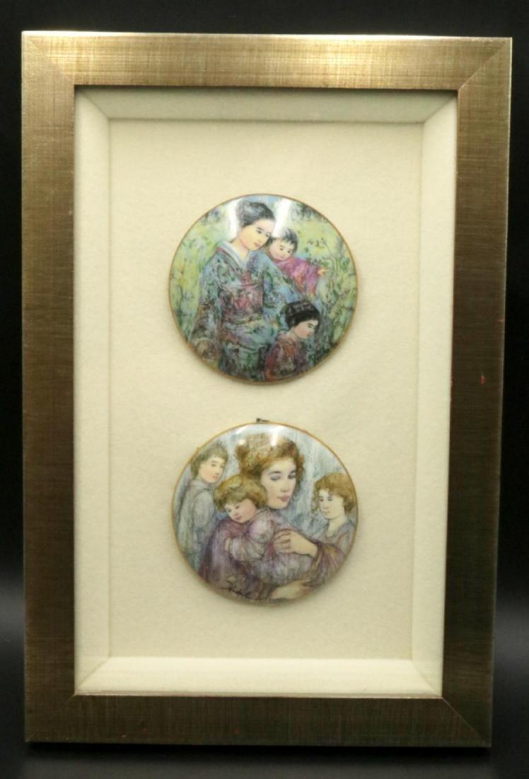 Edna Hibel Hard Paste Porcelain Plaques, Framed
