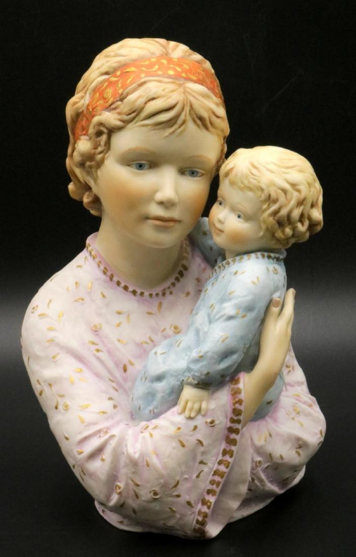 """Edna Hibel """"Judy and Child"""" Porcelain Sculpture"""