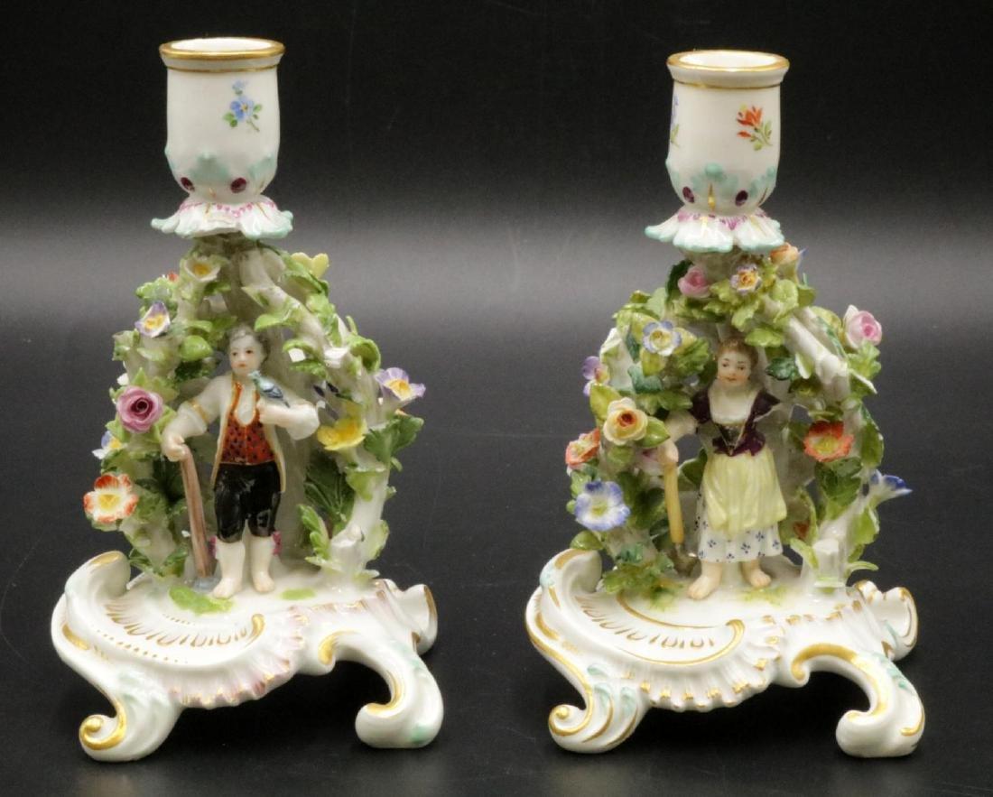Pair of Meissen Porcelain Candleholders