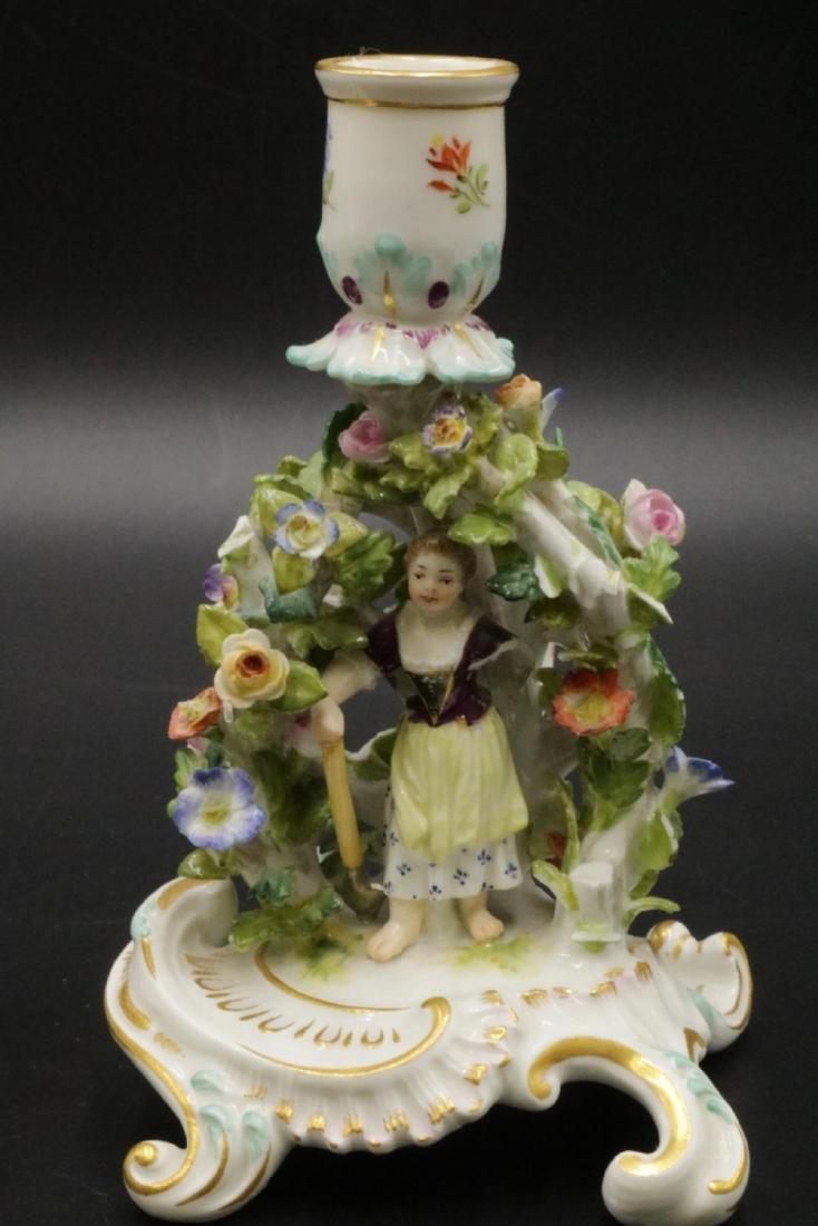 Pair of Meissen Porcelain Candleholders - 3