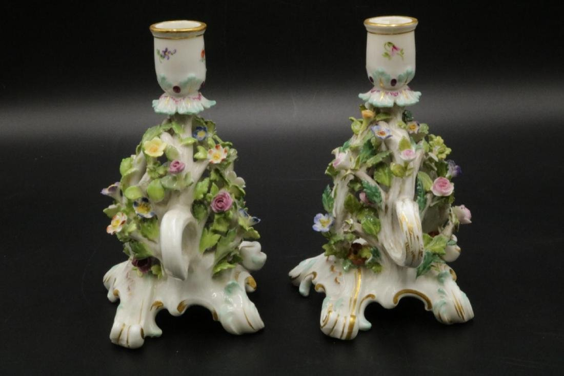 Pair of Meissen Porcelain Candleholders - 6