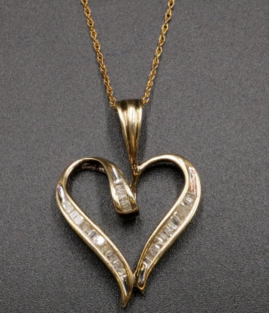 10Kt Diamond Heart Pendant w/ Necklace