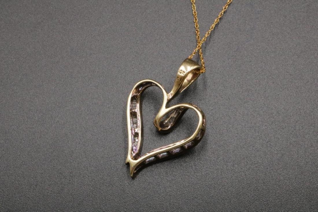 10Kt Diamond Heart Pendant w/ Necklace - 2