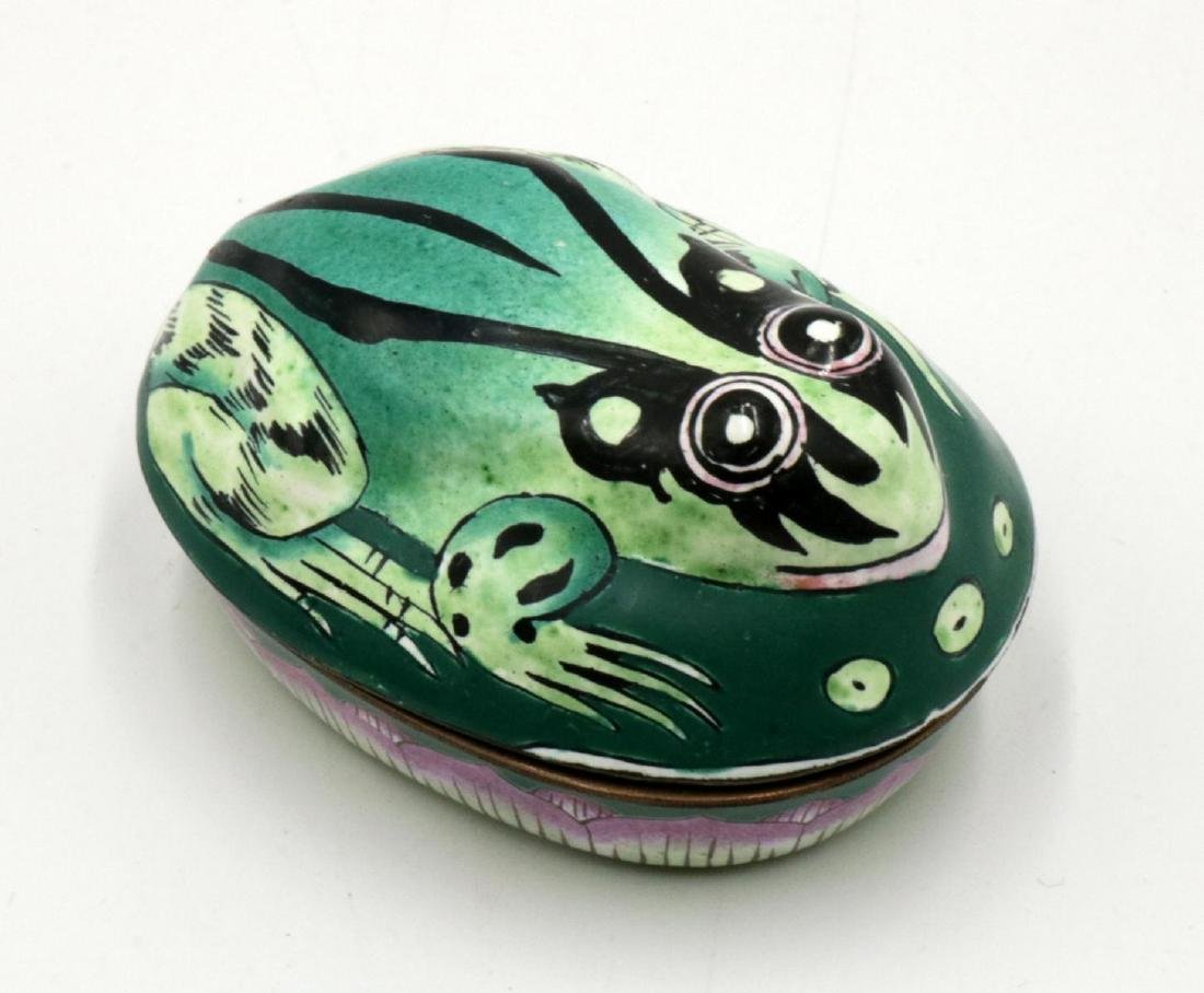 Frog Hand Painted Porcelain Covered Box