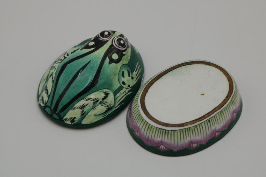 Frog Hand Painted Porcelain Covered Box - 3
