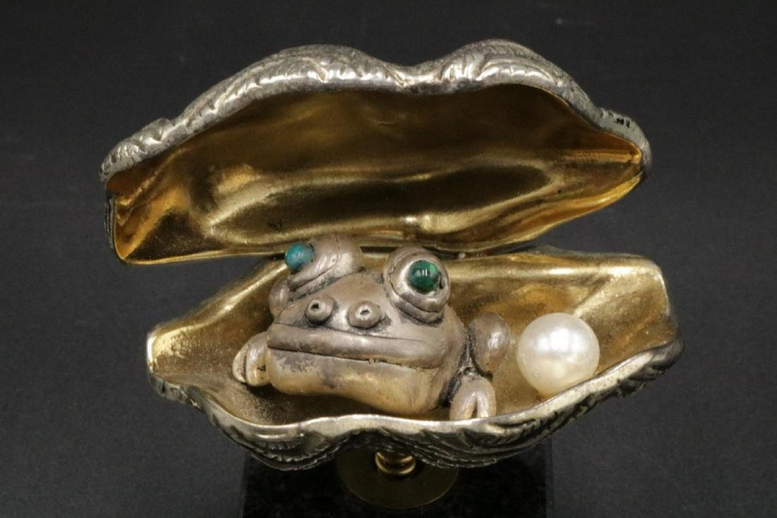 Frank Meisler Israel Mixed Metal Frog in Clam - 2