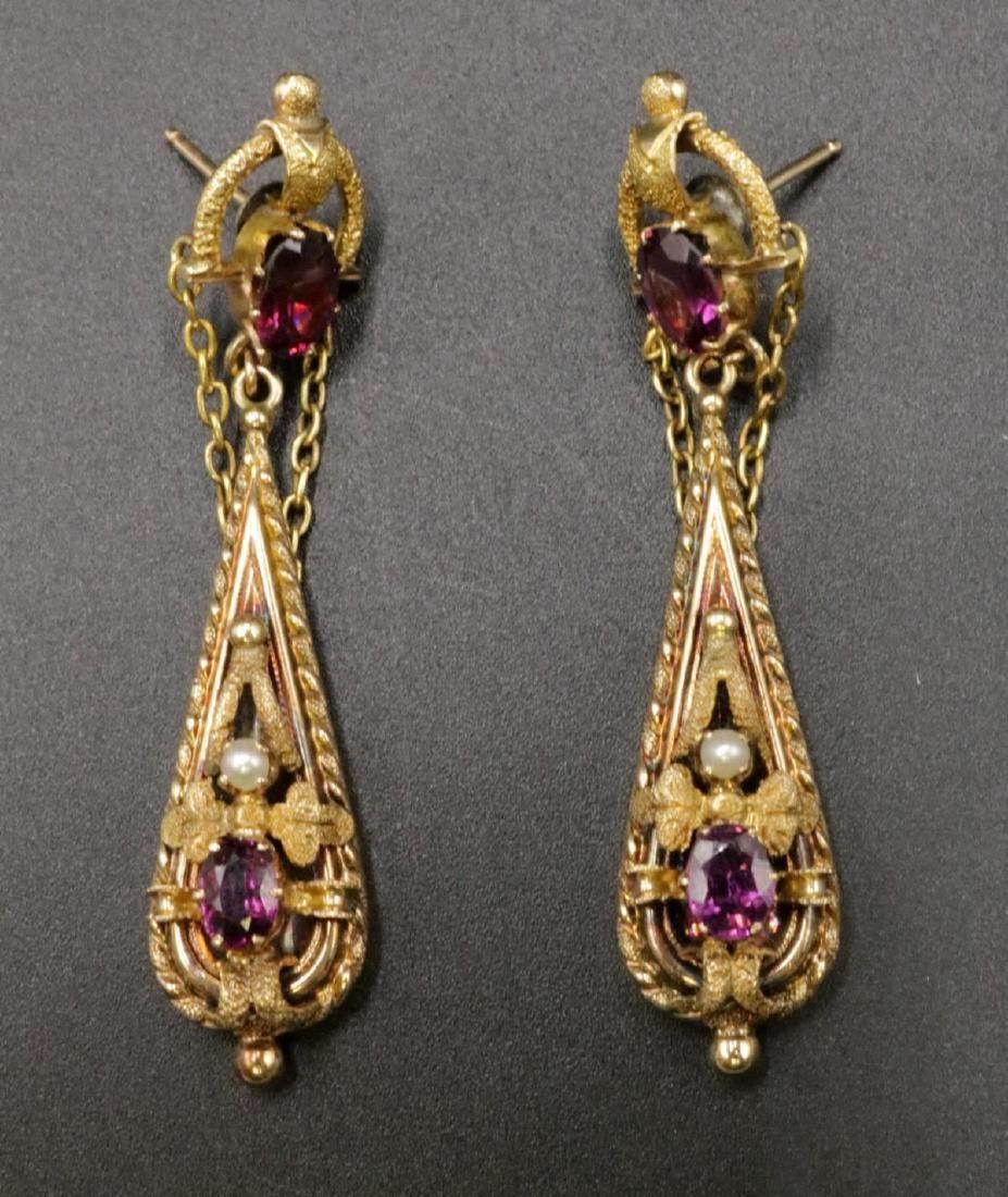 Victorian 14Kt Amethyst & Pearl Drop Earrings