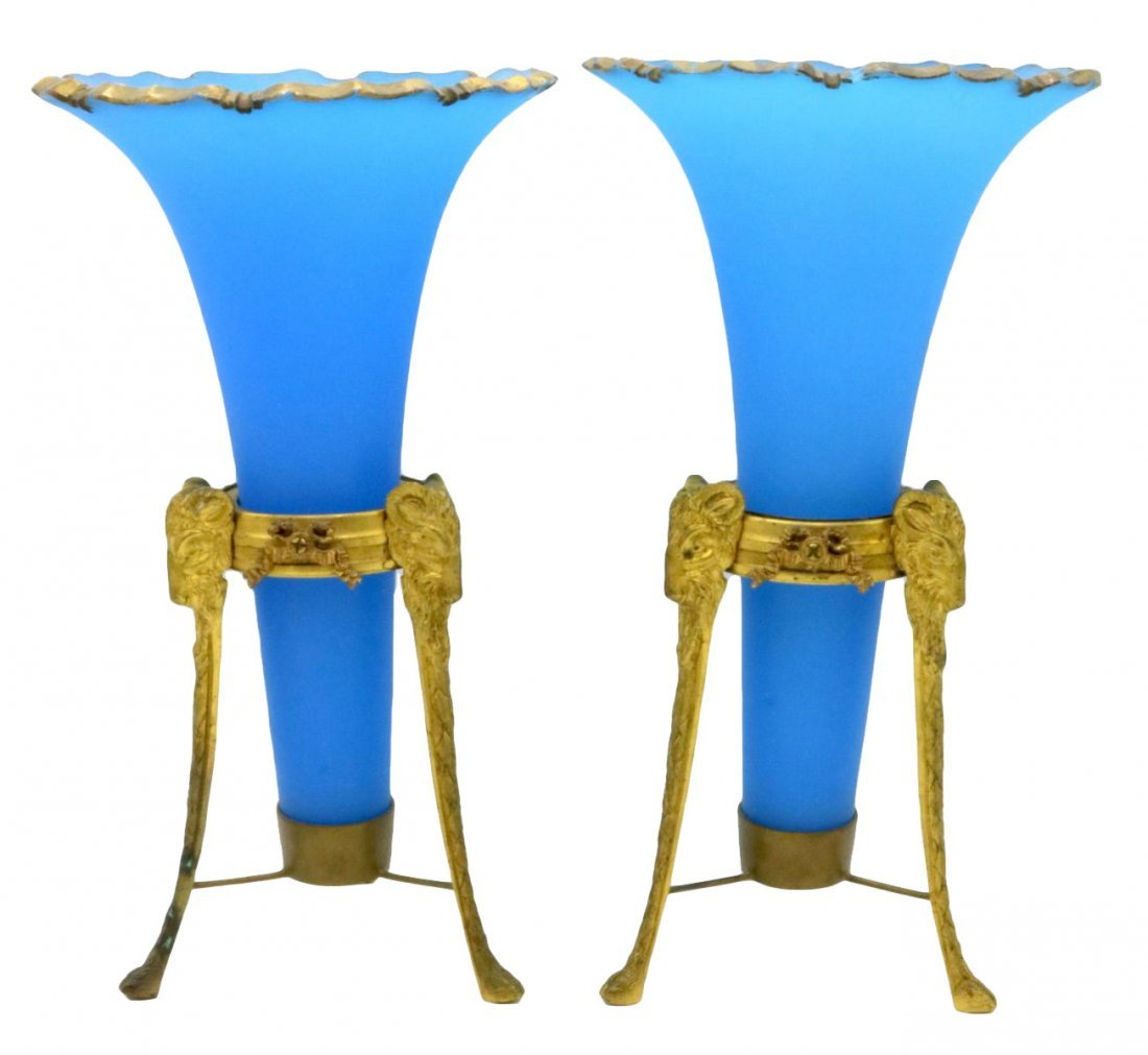 19th C. French Bronze & Blue Frosted Opaline Epergnes