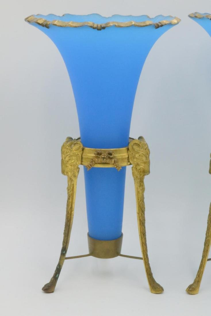 19th C. French Bronze & Blue Frosted Opaline Epergnes - 2