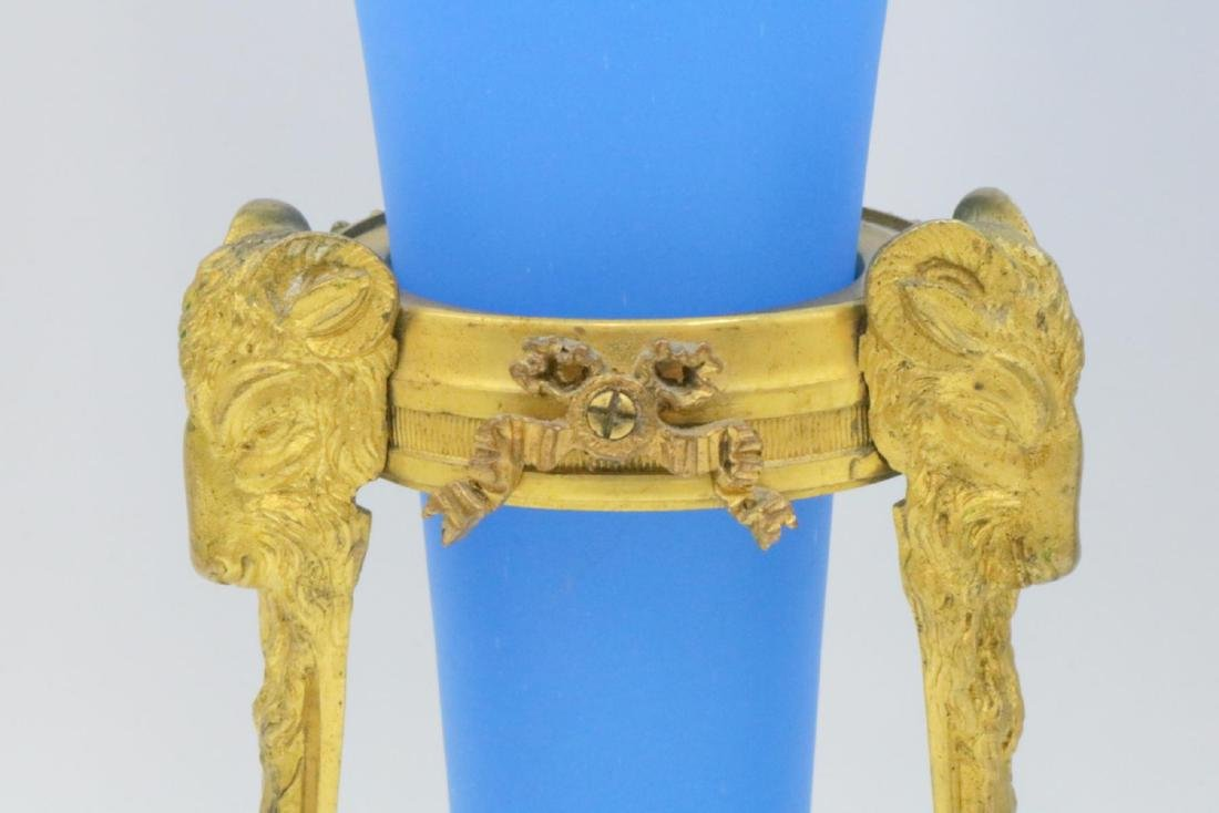 19th C. French Bronze & Blue Frosted Opaline Epergnes - 3