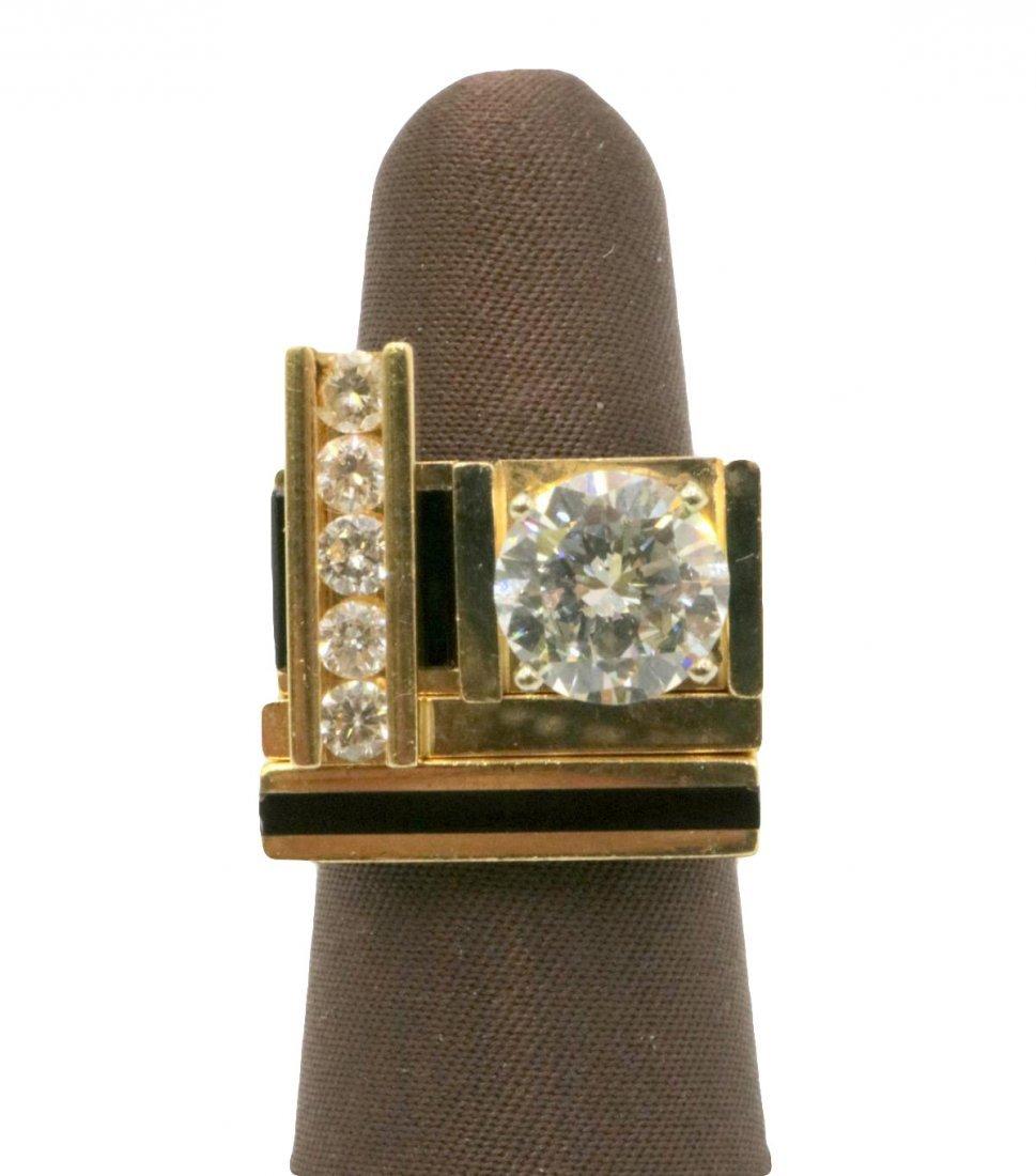 Unique 14Kt Diamond & Black Onyx Solitaire Ring Set