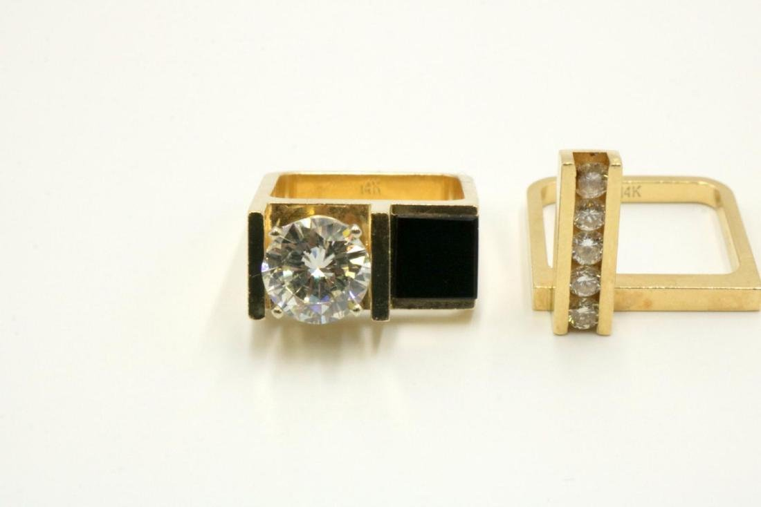 Unique 14Kt Diamond & Black Onyx Solitaire Ring Set - 6