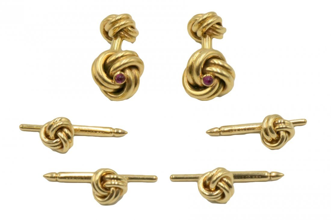Tiffany & Co. 14Kt & Ruby Cufflinks & Stud Set