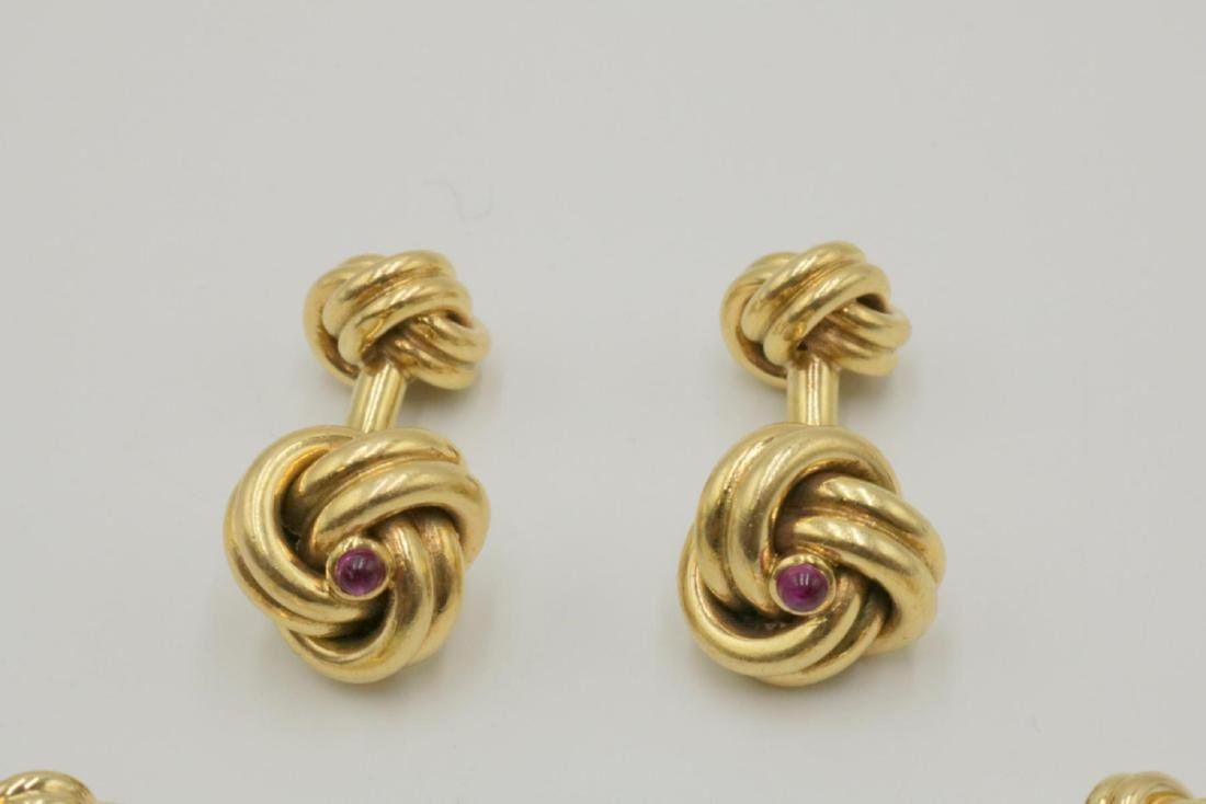 Tiffany & Co. 14Kt & Ruby Cufflinks & Stud Set - 2
