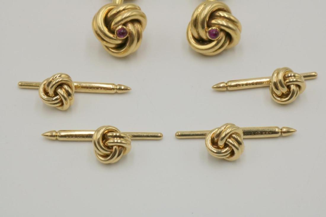 Tiffany & Co. 14Kt & Ruby Cufflinks & Stud Set - 3