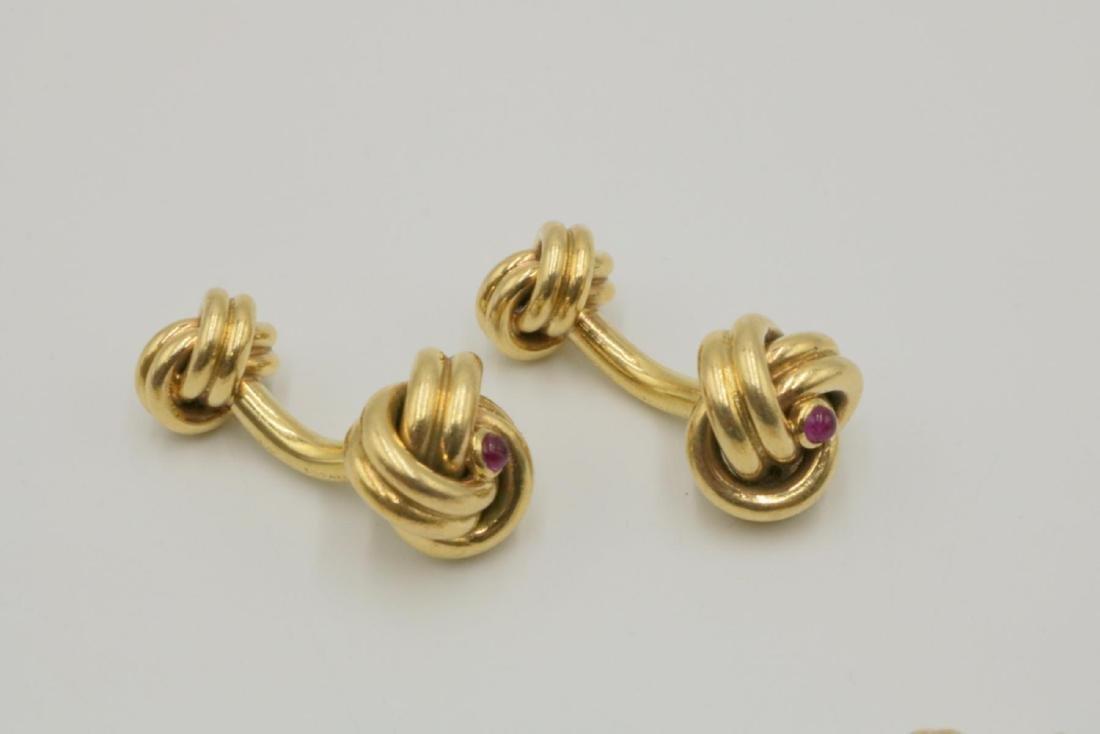 Tiffany & Co. 14Kt & Ruby Cufflinks & Stud Set - 4