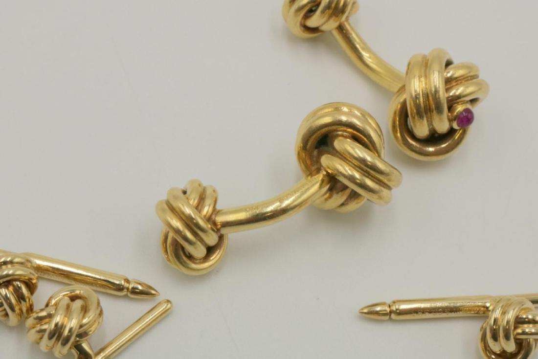 Tiffany & Co. 14Kt & Ruby Cufflinks & Stud Set - 5