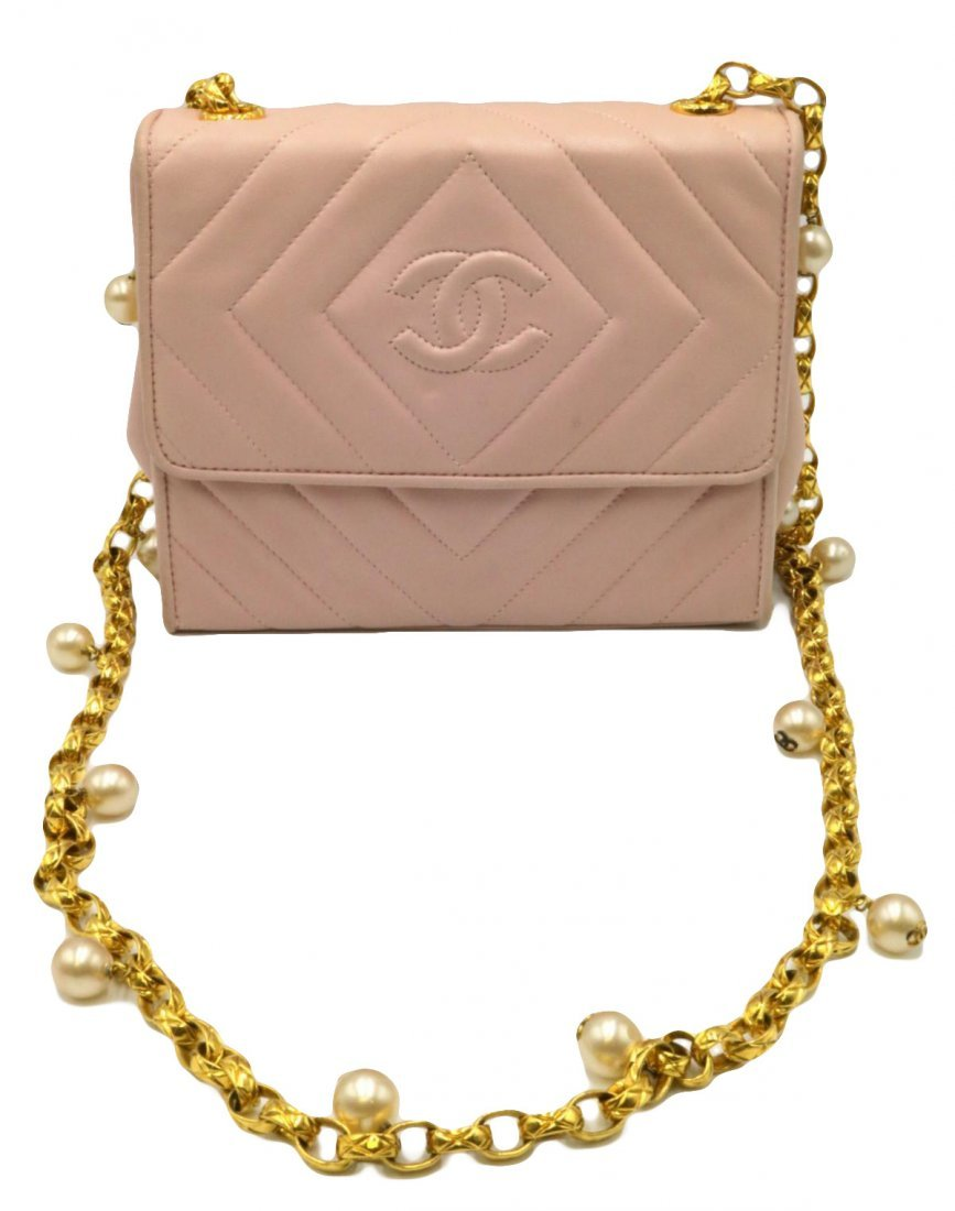 Chanel Pink Quilted Leather & Pearl Logo Purse