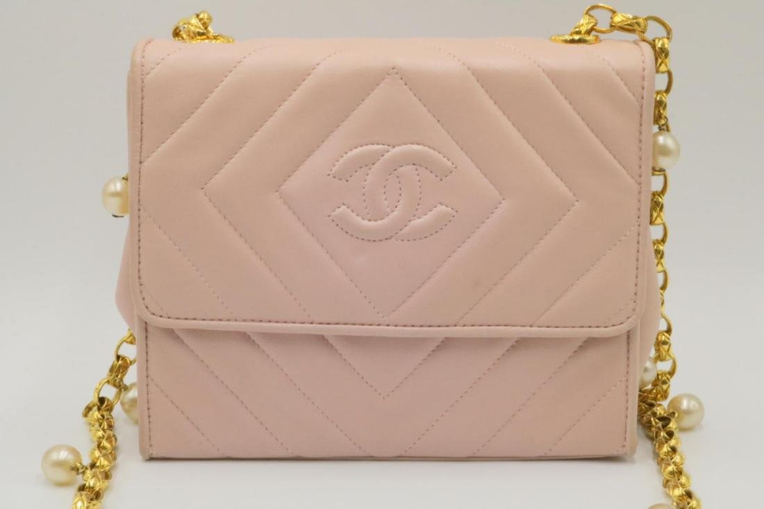 Chanel Pink Quilted Leather & Pearl Logo Purse - 2