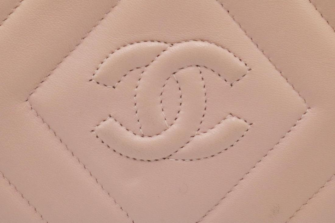 Chanel Pink Quilted Leather & Pearl Logo Purse - 5