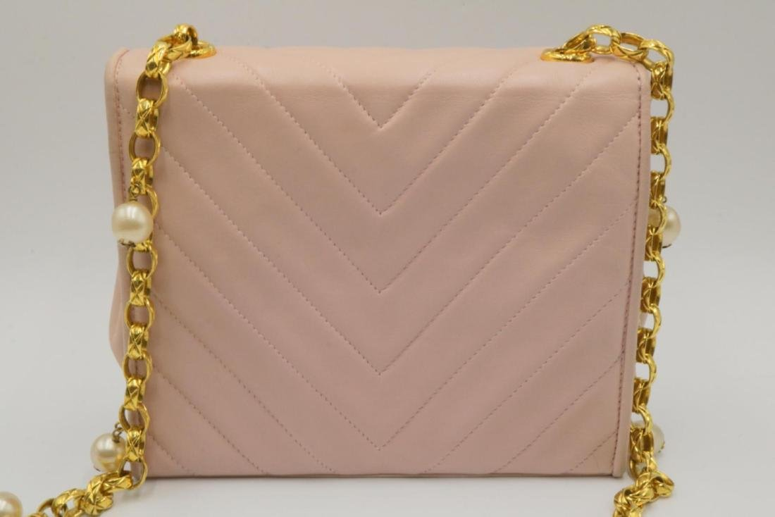 Chanel Pink Quilted Leather & Pearl Logo Purse - 7