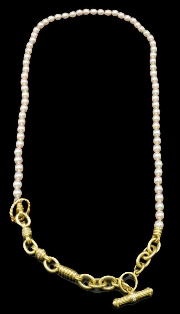 Judith Ripka 18Kt, Sapphire, Diamond & Pearl Necklace