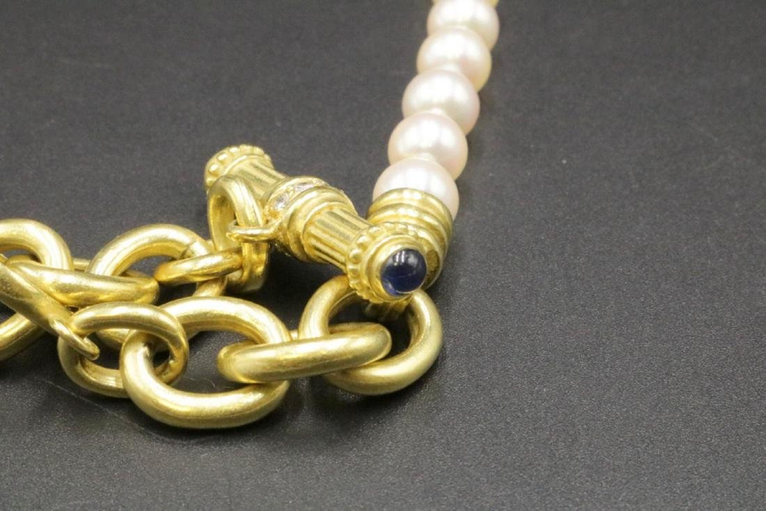 Judith Ripka 18Kt, Sapphire, Diamond & Pearl Necklace - 4