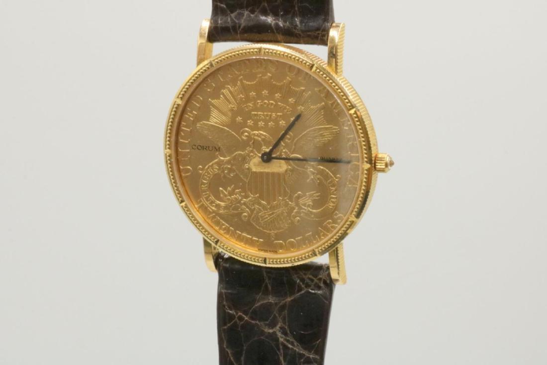 Corum 22Kt & 18Kt Coin & Crocodile Strap Watch - 2