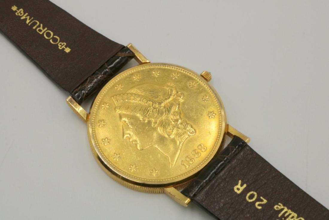 Corum 22Kt & 18Kt Coin & Crocodile Strap Watch - 3