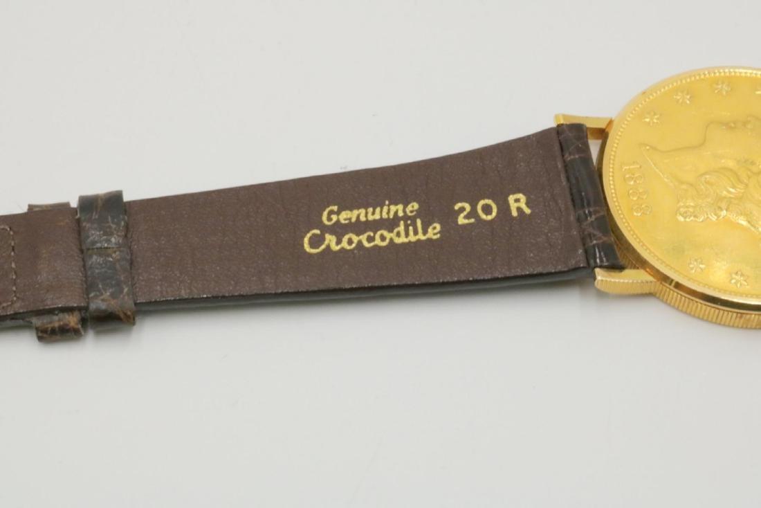 Corum 22Kt & 18Kt Coin & Crocodile Strap Watch - 5