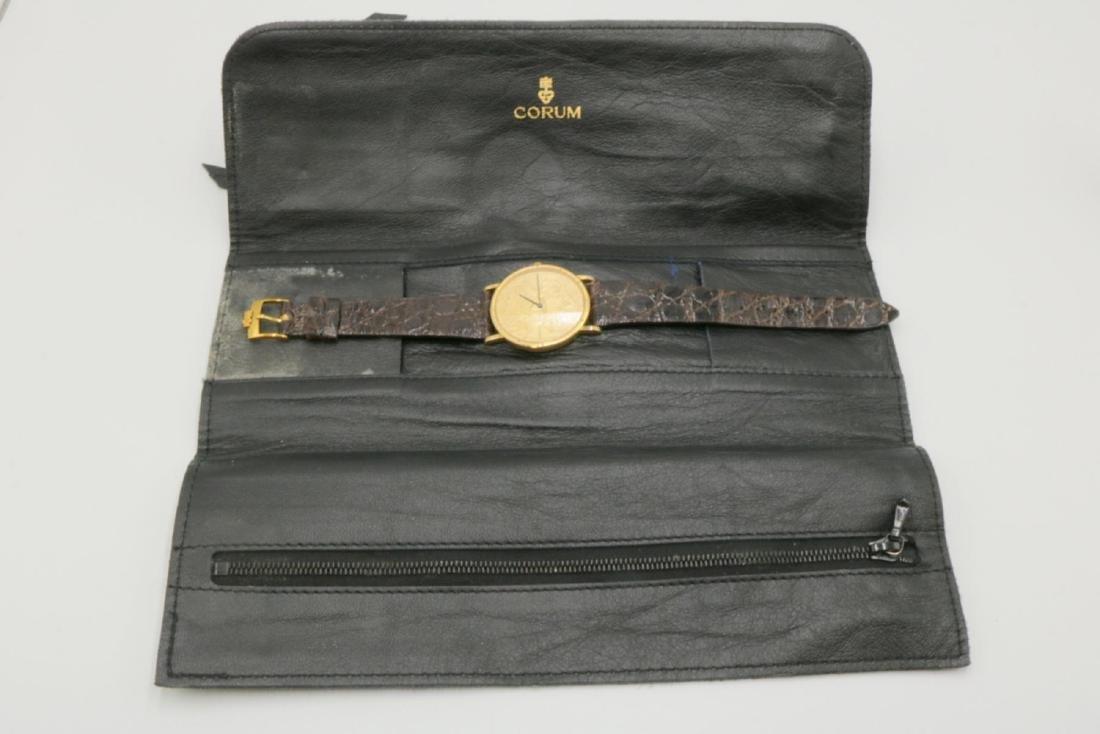 Corum 22Kt & 18Kt Coin & Crocodile Strap Watch - 7