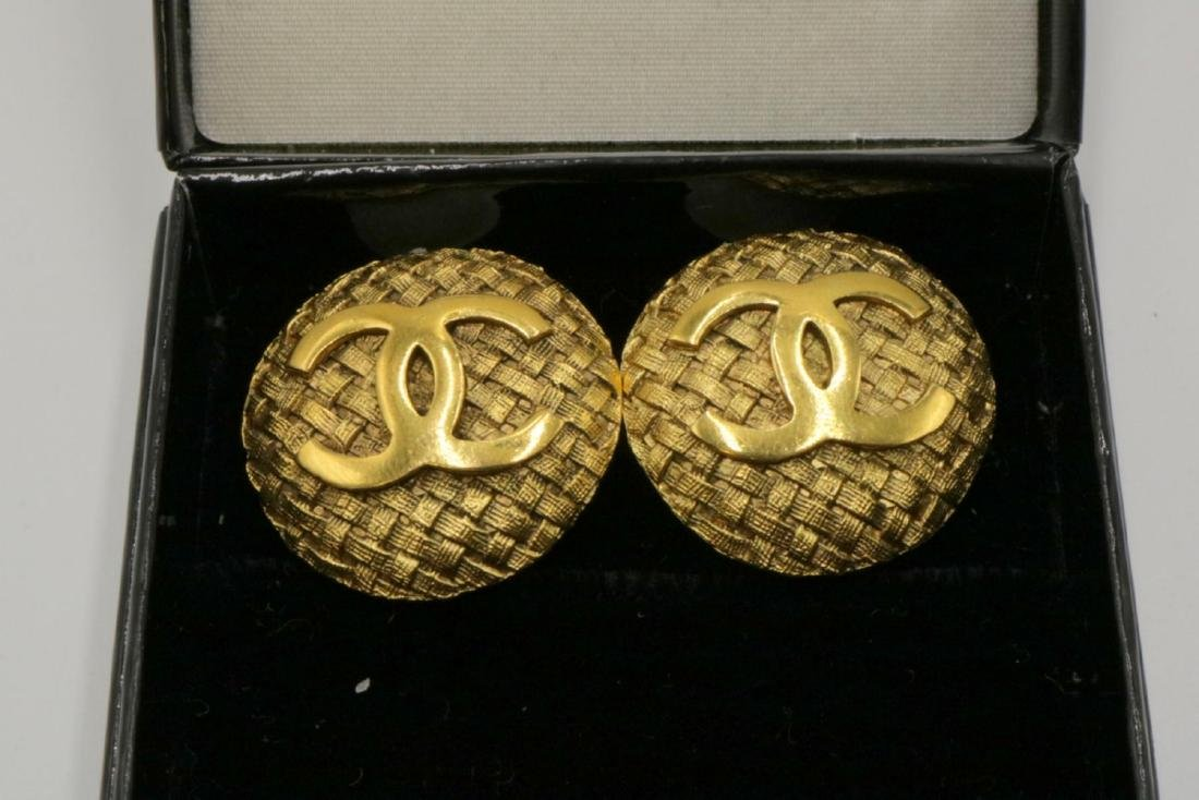 Vintage Chanel Gold Tone Earrings - 2