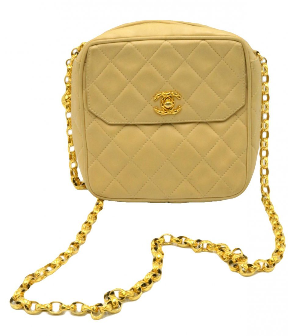 Chanel Quilted Cream Logo Purse