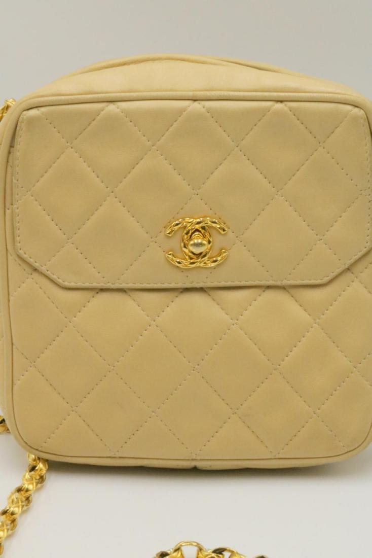 Chanel Quilted Cream Logo Purse - 2