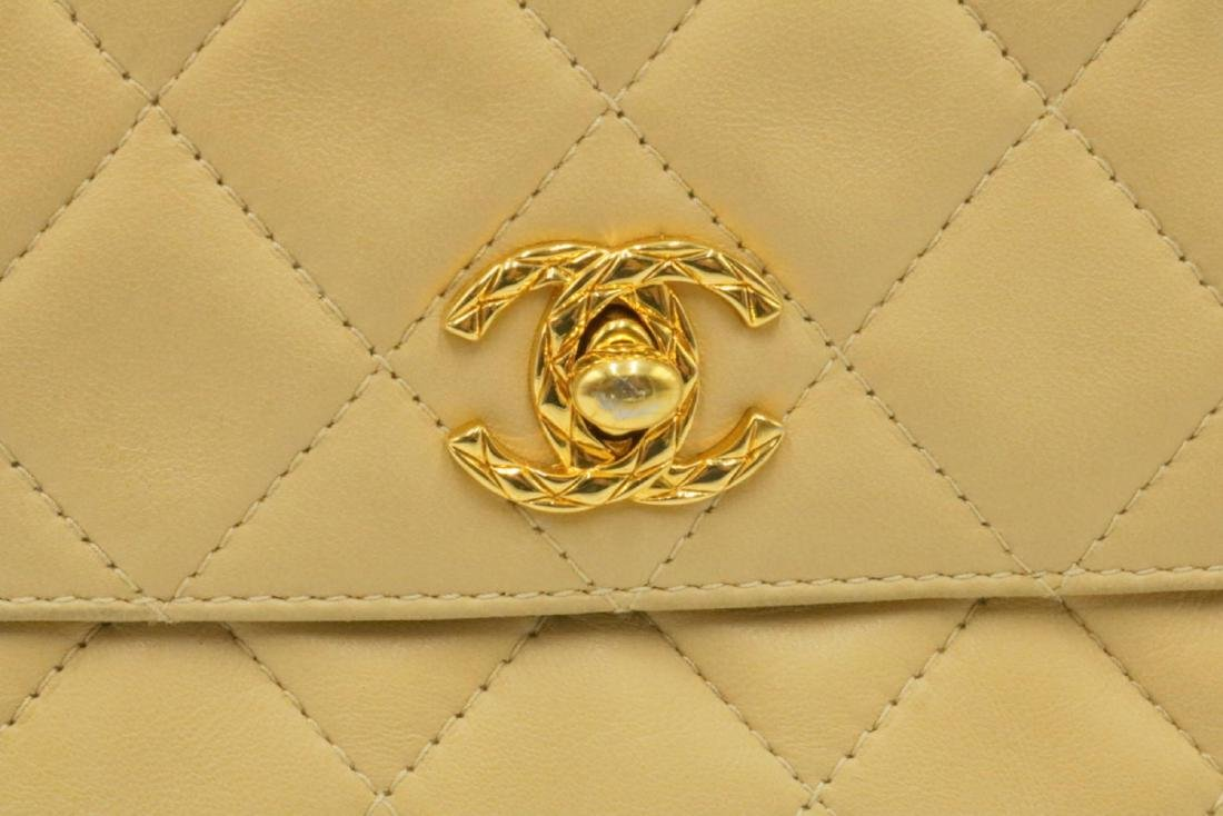 Chanel Quilted Cream Logo Purse - 3