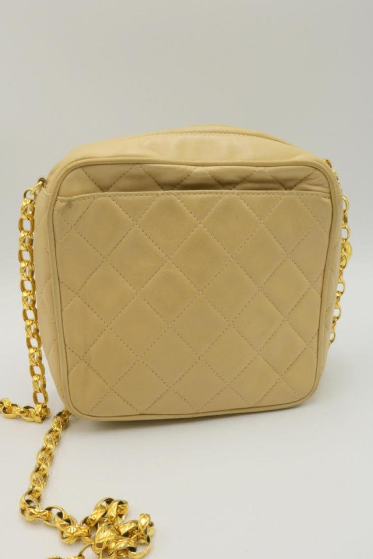 Chanel Quilted Cream Logo Purse - 4