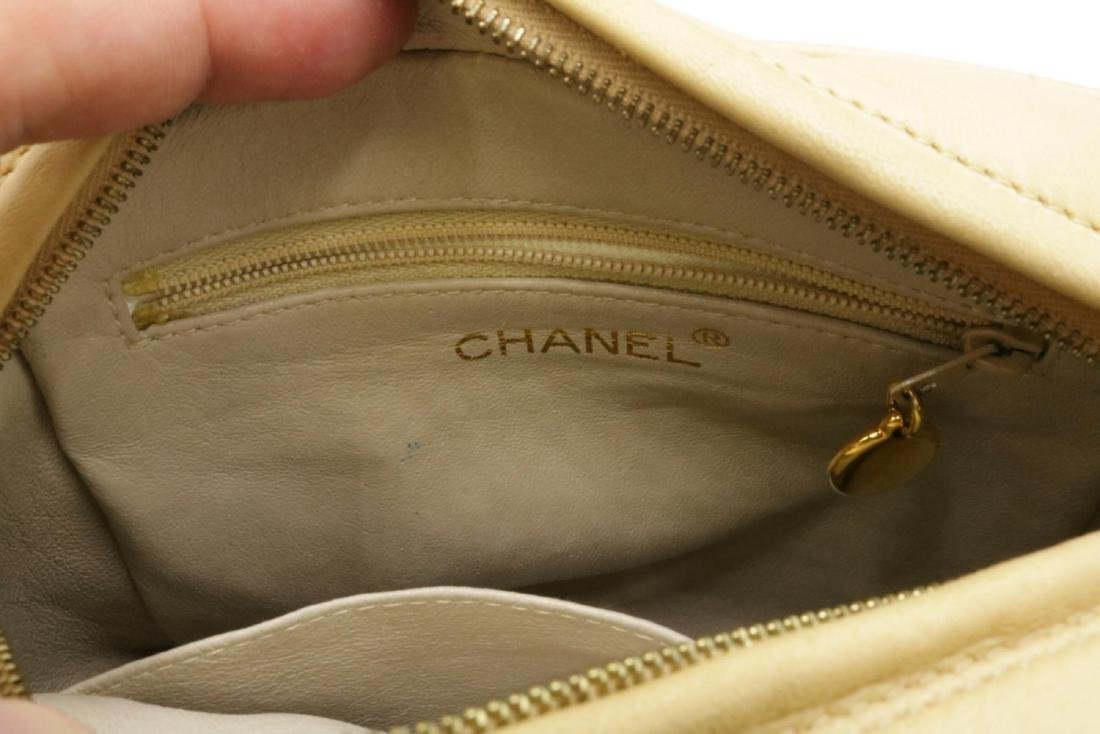 Chanel Quilted Cream Logo Purse - 5