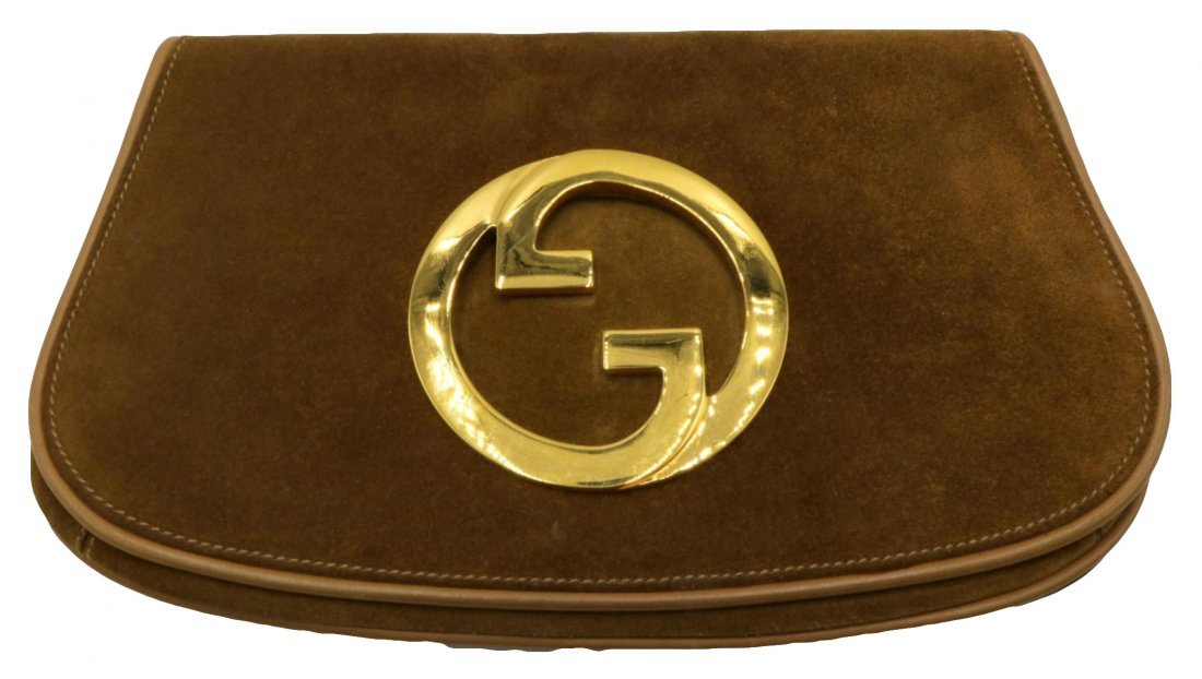 Vintage Gucci Suede Logo Clutch
