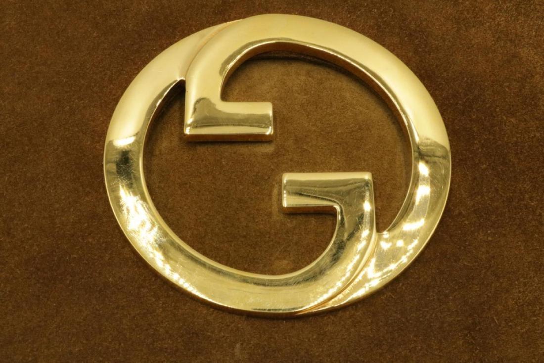 Vintage Gucci Suede Logo Clutch - 2