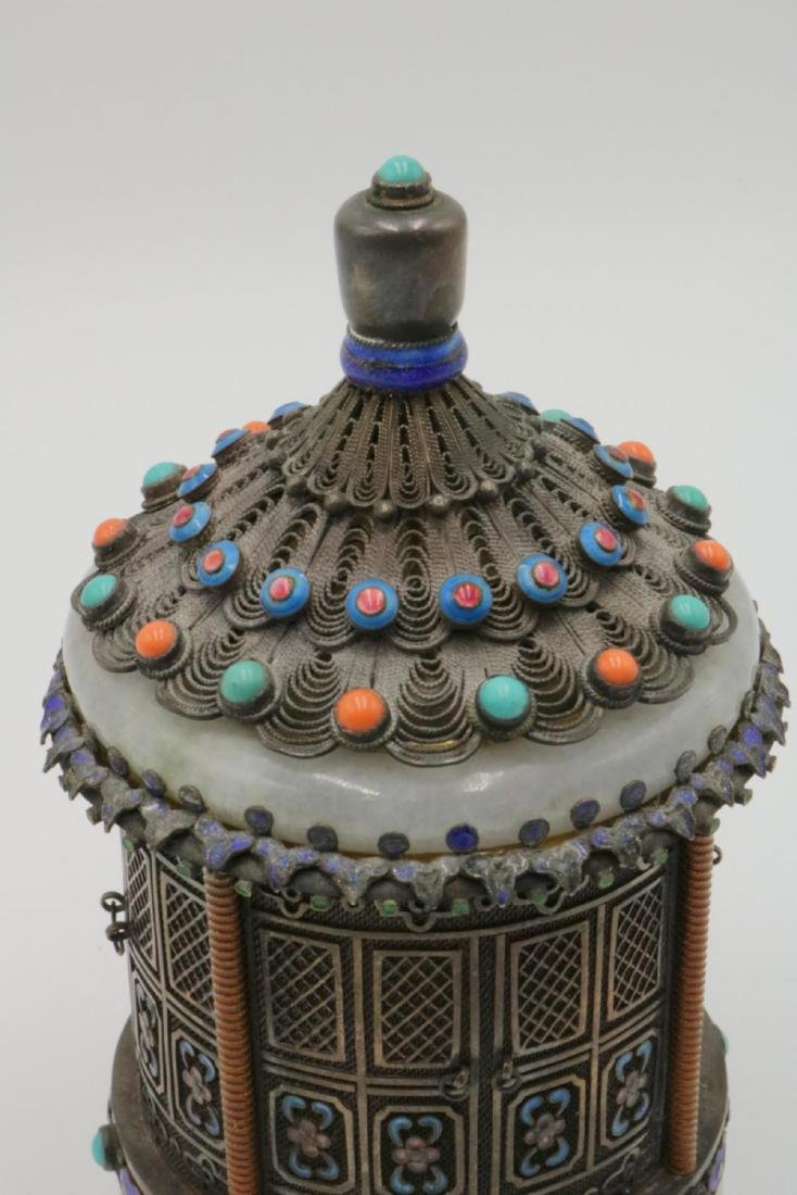 Rare Chinese Silver, Jade, Enamel Jar - 2