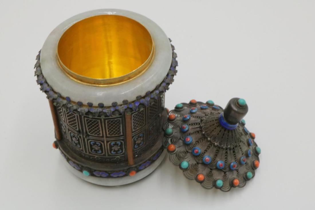 Rare Chinese Silver, Jade, Enamel Jar - 5